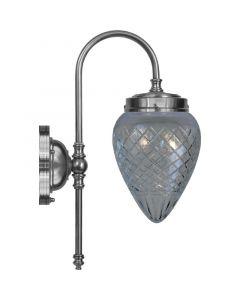 Blomberg Nickel/Slipat Glas Ip24 Vägglampa från Karlskrona Lampfabrik