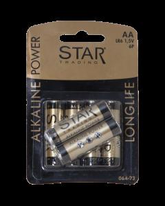 Batteri AA Power Alkaline 1,5V 6-Pack från Star Trading