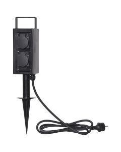 Pluggie 4xFörgrening IP44 Svart 200cm från Star Trading