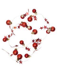 X-mas Ljusslinga Stjärnor/julkulor Röd 90cm Batteri från Star Trading