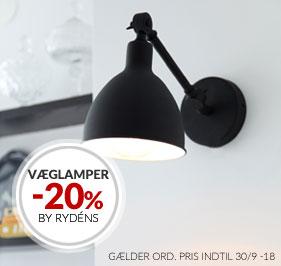 TILBUD! 20% RABAT PÅ ALLE VAEGLAMPER FRA BY RYDÉNS OG ORIVA